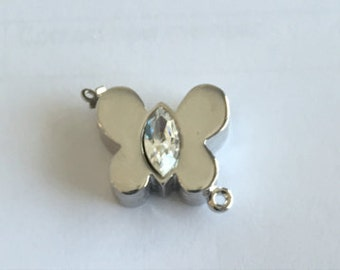 One-Strand Butterfly Clasp in Five Crystal Choices, Rhodium Finish, 19x17mm