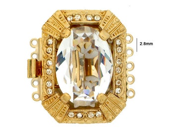 Five-Strand Box Clasp with with Large Center Swarovski Crystal in Gold or Rhodium Finish, 26.5x20mm