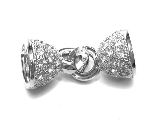 End Cap Clasp for Beads or Kumihimo with Swarovski Crystals in Gold or Rhodium Finish, 36x15mm, Inside Diameter 11mm