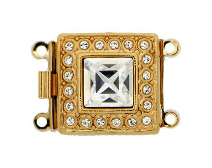 Two-Strand Box Clasp with Square Swarovski Crystal in Gold or Rhodium Finish, 17x17mm