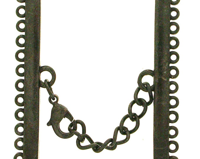 Narrow Twelve-Strand Lobster Clasp in Black Copper or Antique Brass Finish with Extension Chain, 45mm