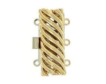 Three-Strand Domed Box Clasp With Open Diagonal Design in Gold or Rhodium, 23x12mm