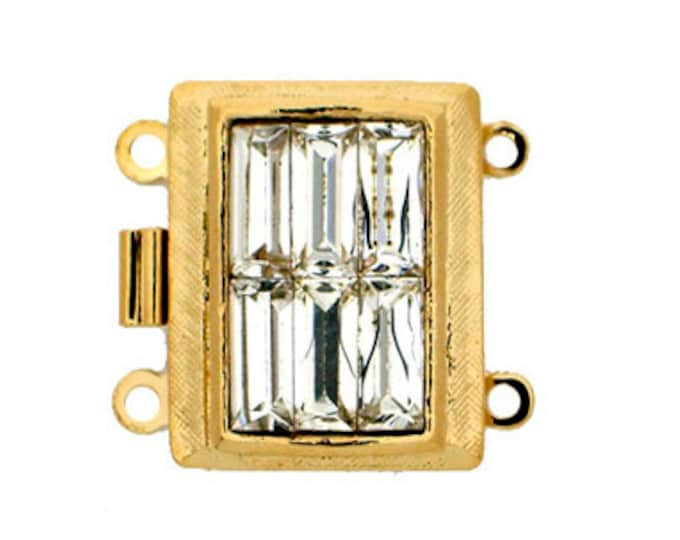 Two-Strand Swarovski Crystal Baguette Box Clasp in Gold or Rhodium Finish,  18x14mm