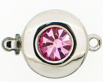 One-Strand Round Clasp with Swarovski Crystal Center in Pink and Purple, Rhodium Finish, 12mm