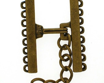 Narrow Nine-Strand Hook and Eye Clasp in Two Antique Finishes - Black Copper and Brass, 30mm