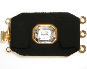 Three-Strand Black Enamel Box Clasp with Swarovski Crystal Center in Gold or Rhodium Finish, 20x18mm