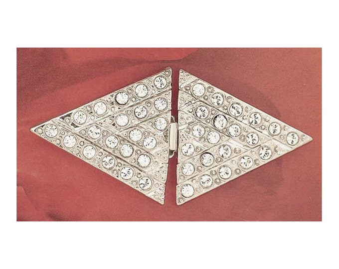 Art Deco Five Strand Double Triangle Clasps in Gold or Rhodium with Swarovski Crystals, 49x24mm