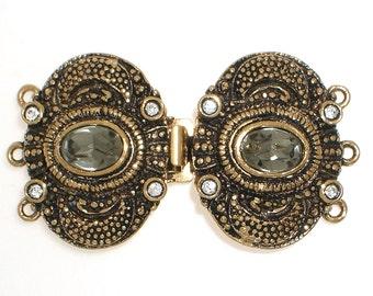 Ornate Three-Strand Edwardian Double Clasp with Black Diamond Swarovski Crystal in Antique Gold Finish, 39x22mm