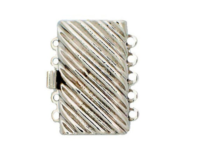 Five-Strand Box Clasp with Diagonal Ridges in Gold or Rhodium Finish, 26x16.5mm