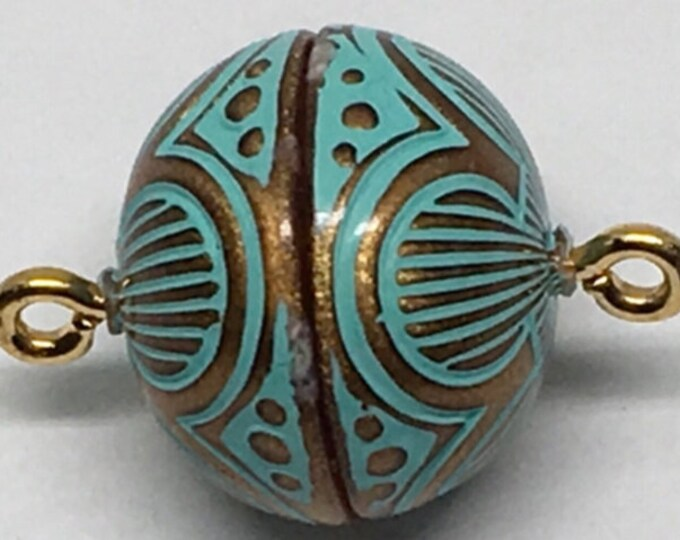 13.5mm Magnetic Clasp in Copper and Turquoise Patina Finish
