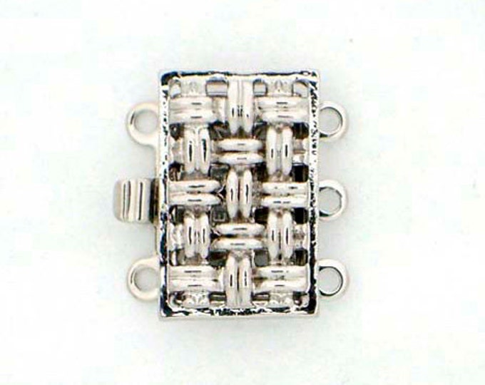 Small, Three-Strand Basket Weave Clasp in Gold or Rhodium Finish, 14x9mm