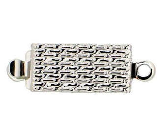 One-Strand Patterned Box Clasp in Gold or Rhodium, 12x6mm
