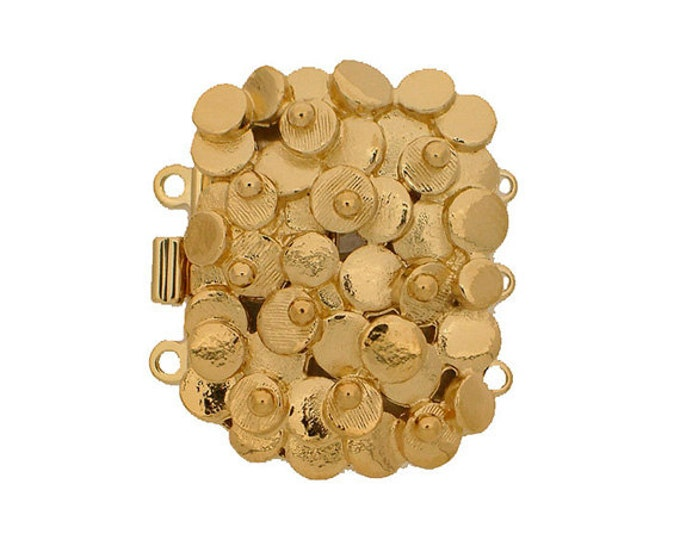 Three-Strand Scattered Circles Box Clasp in Gold or Rhodium Finish, 28x22mm