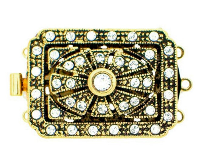 Three-Strand Art Deco Clasps in Two Antique Finishes, 26x19mm