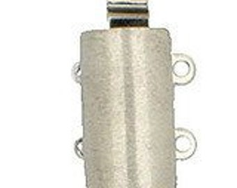 Two-Strand Sterling Silver or Light Gold Convex Slider Clasp, Satin Finish, 20x8mm