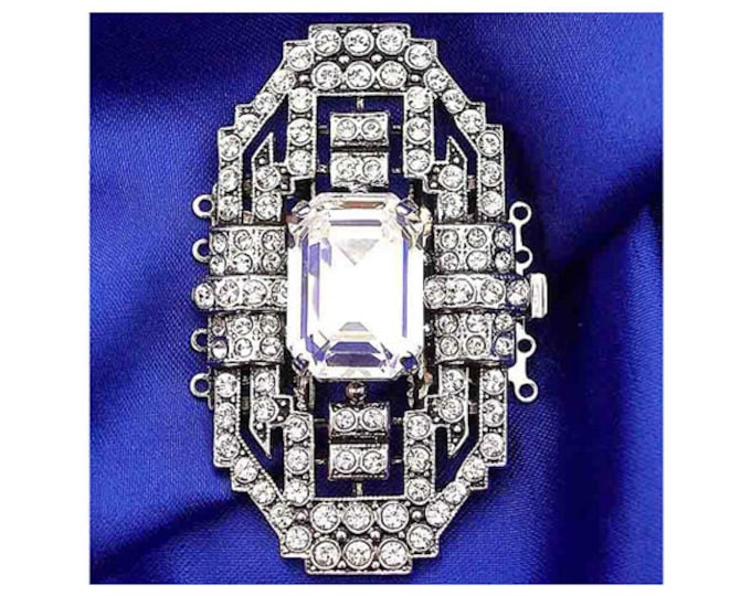 Octagonal Five-Strand Art Deco Clasp with Swarovski Crystal Center Baguette in Two Finishes, 33x55mm