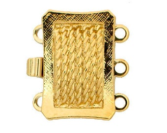 Small Three-Strand Box Clasp With Rope Detailing in Gold or Rhodium, 10x18mm