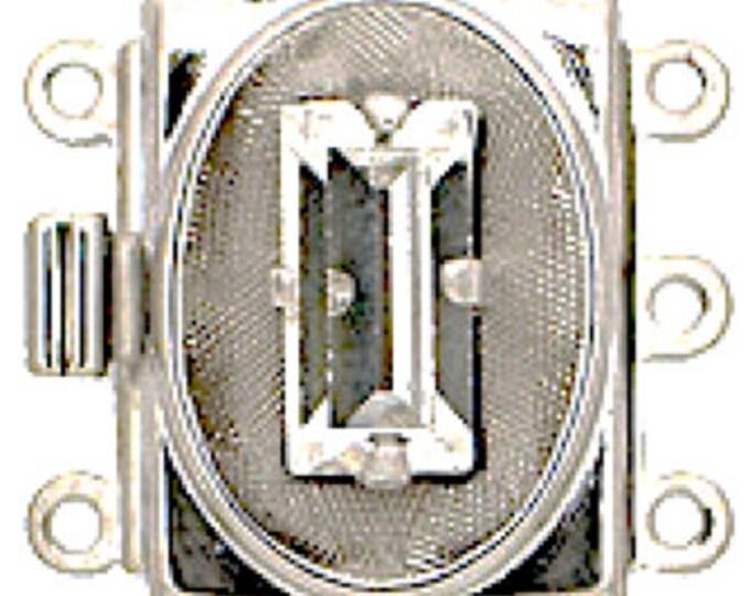 Three-Strand Avant-Garde Box Clasp with Swarovski Crystals in Rhodium Setting, 17x13mm
