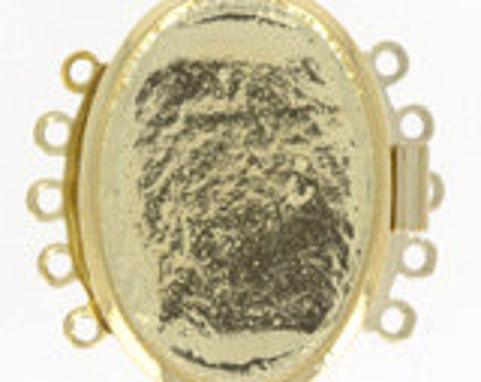 Five-Strand Oval Bezel Clasp in Gold or Rhodium Finish, 28x21mm