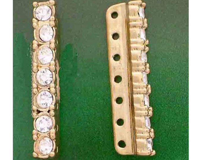 7-Strand Spacer Bars, 2 per Pack, in Rhodium or Gold Finish with Swarovski Crystals, 25x4mm