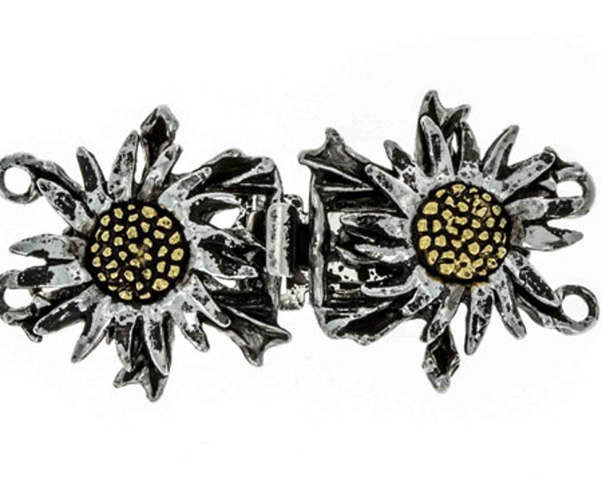 Two-Strand Dark Daisy Gothic Double Box Clasp in Old Palladium Setting, 19x38mm
