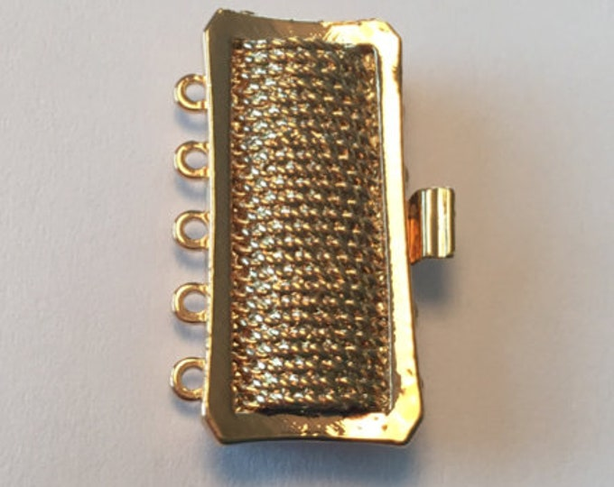 Five-Strand Cuff Bracelet Clasp With Rope Detailing in Gold or Rhodium, 26.5x12mm