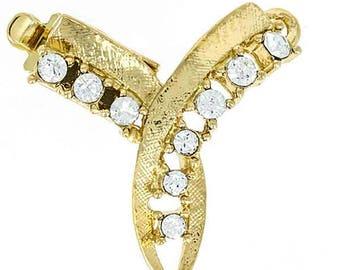 One-Strand Swarovski Crystal Festoon Necklace Clasp in Gold or Rhodium Finish, 20x20mm