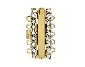 Five-Strand Box Clasp with Swarovski Crystals in Gold or Rhodium Finish, 13x22mm