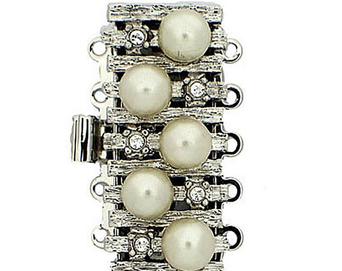 Five-Strand Organic Pearl and Crystal Clasp in Gold or Rhodium Finish, 26x12mm
