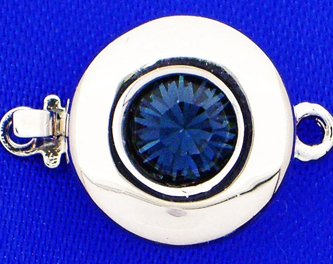 One-Strand Round Clasp with Swarovski Crystal Centers in Six Shades of Blue, Rhodium Finish, 12mm