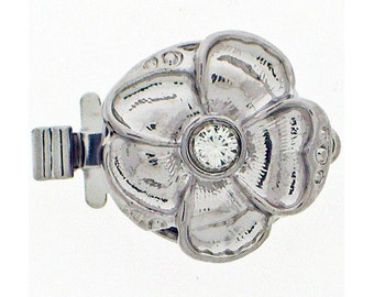 Small One-Strand Flower Clasp with Swarovski Crystal Center in Gold or Rhodium Finish, 13mm