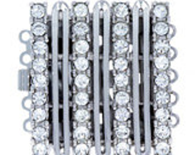 Five-Strand Square Box Clasp with Rows of Swarovski Crystals in Gold or Rhodium Finish,  21x21mm