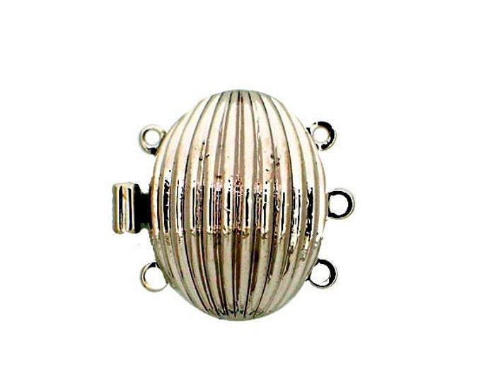 Three-Strand Oval Striated Box Clasp in Gold or Rhodium Finish, 20x15mm