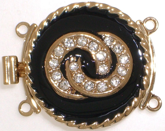 Two-Strand Round Black Enamel and Metal Clasp with Swarovski Crystals in Gold or Rhodium Finish, 18mm