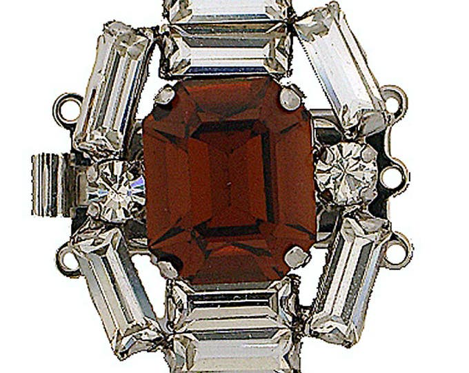 Three-Strand Smoked Topaz Swarovski Crystal Clasp in Rhodium Finish, 25x20mm