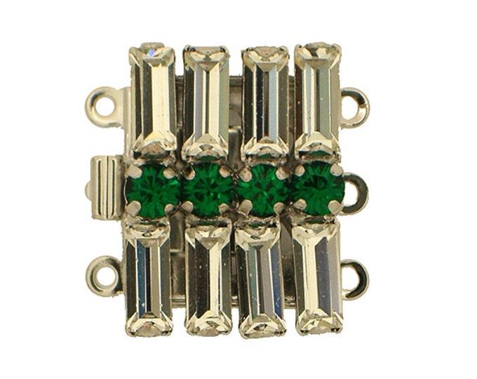 Three-Strand Swarovski Crystal Clasp in Three Jewel Tones, Rhodium Finish, 20x15mm