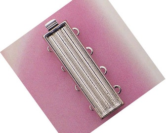 Four-Strand Add-Your-Own-Delicas Clasp in Rhodium or Gold Finish, 26x7mm