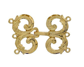 Three-Strand Baroque Hook and Eye Clasp in Gold or Rhodium Finish, 35x25mm