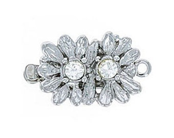 One-Strand Double Flower Box Clasp in Gold or Rhodium with Swarovski Crystal Centers, Perfect for Wedding Jewelry, 10x18mm