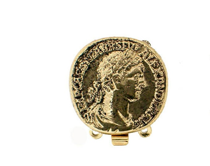 Two-Strand Ancient Coin Box Clasp in Two Antique Finishes, 18mm