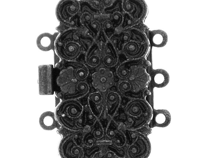 Three-Strand Ornate, Baroque-Patterned Rectangular Box Clasp in Black Copper Finish, 29x14mm
