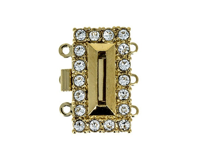 """Gold or Rhodium """"Baguette"""" Three-Strand Box Clasp with Swarovski Crystals, 21x12mm"""