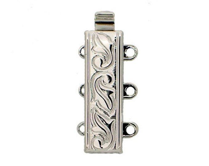 Leaf-Patterned Three-Strand Slider Bracelet Clasp in Gold or Rhodium Finish, 18x6mm