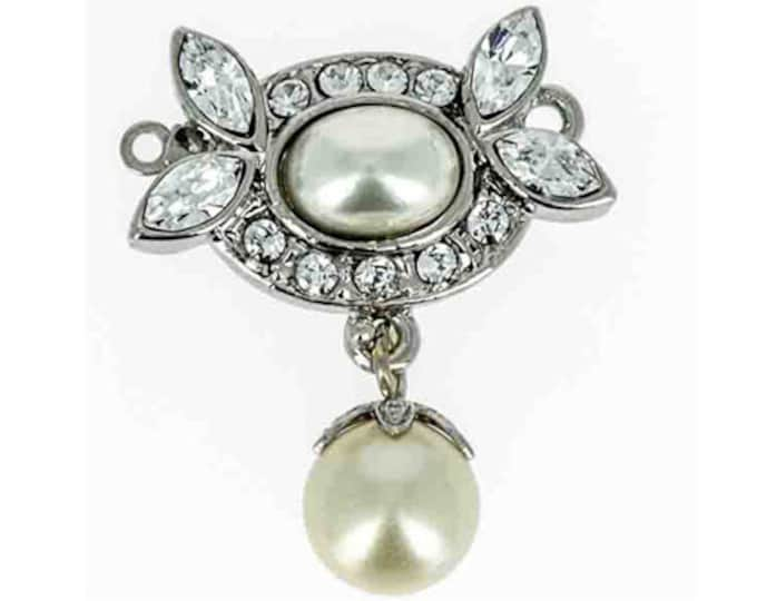 Edwardian One-Strand Pearl Clasp, Festoon Style with Swarovski Crystals in Gold or Rhodium Finish, 22x26mm