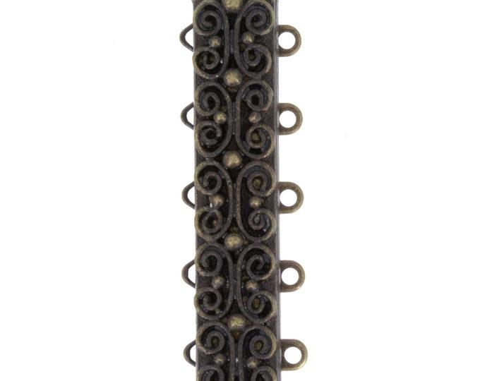 Five-Strand Scroll-Patterned Slide Bracelet Clasp in Antique Brass, 31x7mm
