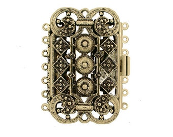 Steampunk Seven-Strand Cuff Bracelet Box Clasp in Two Finishes, 28x45mm
