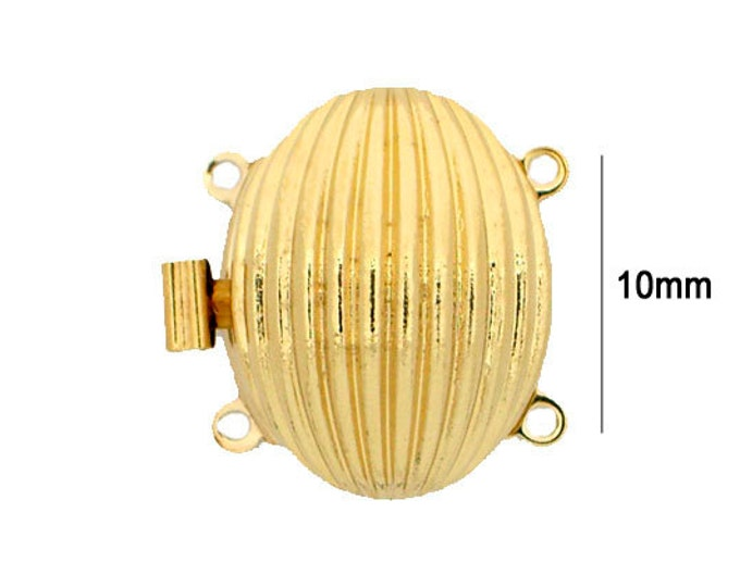 Two-Strand Oval Striated Clasp in Gold or Rhodium Finish, 20x15mm