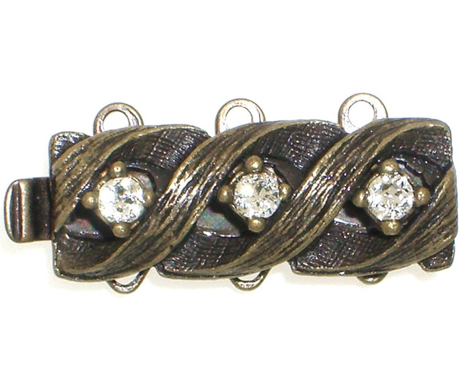 Three-Strand Rustic Glamor Slider Clasp in Two Finishes - Antique Brass or Black Copper with Swarovski Crystals, 19x7mm