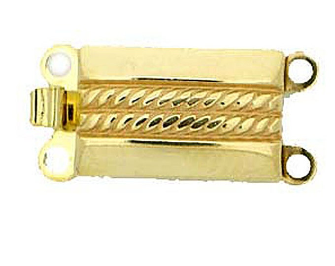 Two-Strand Rectangular Box Clasp with Horizontal Rope Detailing in Light Gold, 8.5x13mm