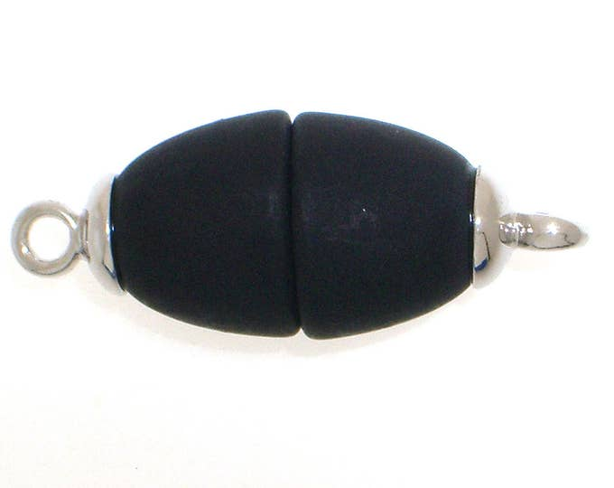 Oval Polaris Magnetic Clasps with Rhodium End Caps in Black, Two Finishes, 25x10mm